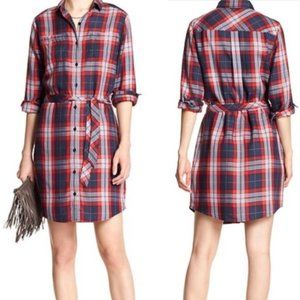 NWT BANANA REPUBLIC LONG SLEEVE PLAID SHIRT DRESS